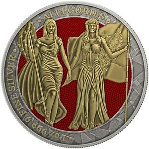 Germania 2019 5 Mark Columbia & Germania - Antique Gold - 1 Oz Silbermünze