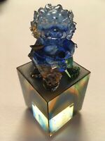 Chinese Pate de Verre Guardian Lion Dog Figurine Paperweight