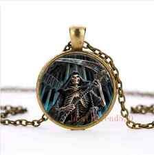 Vintage Grim Reaper Cabochon Glass Bronze Necklace Men Woman Jewelry