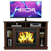 Fireplace Mantel Surround TV Stand Unit Console w/ Storage for Living Room Brown