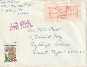 1988 USA cover sent from West Lafayette IN to Leicester UK