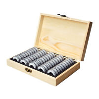 1pc Fine Wood Coin Storage Box for 50pcs Coins Coin Tray Holder Display