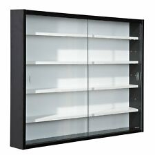 Wall Mounted Glass Vitrine Collectors Display Cabinet Wooden Shelves Modern New