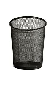 BLACK Wire Metal Waste Paper Mesh Bin Compact for Office Garage bathroom