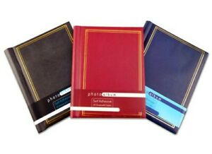 """Leather Effect Photo Album 40 pages self adhesive 8"""" x 11"""" sheets Black Blue Red"""