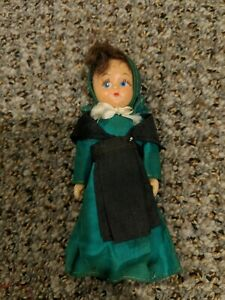 Antique Hard Plastic Amish Doll / Amish Costume / Blue Eyes / Red Blonde Hair