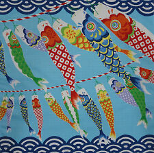 Furoshiki Wrapping Cloth Japanese Fabric 'Seigaiha Koi Nobori' Carp Cotton 50cm