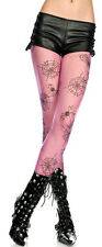 Black Pink Sheer Pantyhose Spider Web Pattern Halloween Witch Costume Tights OS
