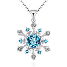 Women 925 Sterling Silver Made with Swarovski Element Snowflake Pendant Necklace