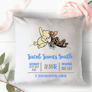 Personalised New Baby Born Cushion Pillow Cover Baby Shower Gift Winnie the Pooh