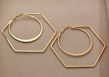 "18K Gold Filled 3.1"" Earring Trapezoid Circle Hollow Dangle Stylish Ear Hoop DS"