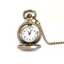 Vintage Small Lotus Chain Pendant Necklace Hollow Fob Quartz Pocket Watch Gifts