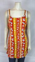 Bali Girl Orange Green Blue Beach Cover Tunic Top Dress Women's Sz Medium Large