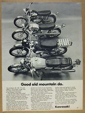 1969 Kawasaki 90 120 175 & 238 cc motorcycles photo vintage print Ad