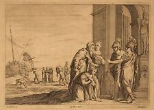 ENEA E DIDONE Aeneas Dido - Incisione Originale 1600 Quirin Boel A. Schiavone