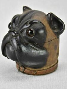 Rare late 19th century French inkwell - bulldog