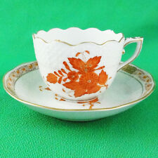 CHINESE BOUQUET Rust by HEREND ESPRESSO Cup & Saucer NEW NEVER USED made Hungary
