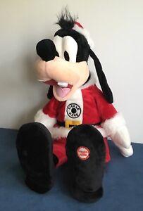 "Hallmark Disney Totally Ticklish Goofy Plush in Santa Outfit Sings Laughs 16"""