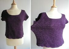 EAST Stretch Crinkled Purple Top Blouse Size M L UK 12 14