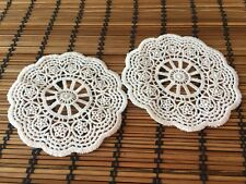 OFF WHITE Vintage LACE Crochet Sew On Fabric Flower Motifs, Patches Guipure Trim