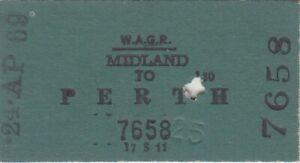 RAILWAY TICKETS -  WAGR - MIDLAND TO PERTH - SINGLE - 1969