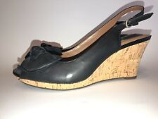 Clarks Artisan Peep Toe Cork Heel Wedge Black Bow Sandals 60703 9 m