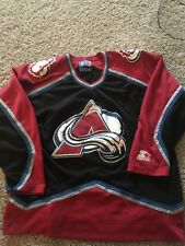 Vintage Rare Colorado Avalanche Black Starter NHL Hockey Jersey Large