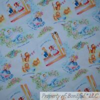 BonEful Fabric FQ Cotton Quilt White Baby Unisex Nursery Rhyme Story Book Flower
