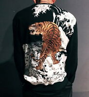 Mens Sukajan Sweater Terry Sweatshirt Japanese Pattern Embroidered Ukiyo-e Tiger
