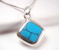 Reversible Blue Turquoise & Mother of Pearl 925 Sterling Silver Square Necklace