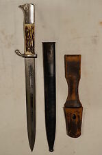 WW2 German K98 Dress Bayonet with Stag Horn Grip Plates Black Scabbard & Frog