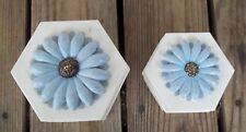 Vintage Atico International Set of Two Nesting Tins Hexagon 3D Floral Blue Cream