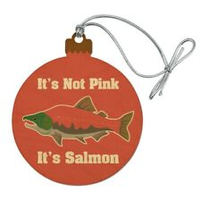 Not Pink Salmon Color Funny Wood Christmas Tree Holiday Ornament