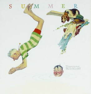 Norman Rockwell Summer Poster Reproduction Paintings Giclee Canvas Print