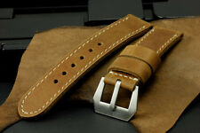 HQ Vintage Brown Italian Cow Leather 26mm Panerai Watch Strap Band+GPF Buckle