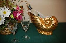 Centrum Ceramics Gold Nautilus Wine Cooler - Coastal Seashell Gold leaf finish.