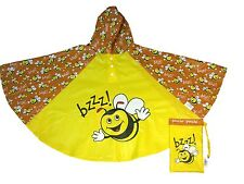 Bugzz Kids Yellow Bumble Bee Poncho Rain Coat Childrens / Childs Waterproof Mac