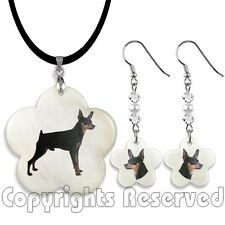 Miniature Pinscher Dog Mother Of Pearl Flower Pendant Necklace And Earrings M52