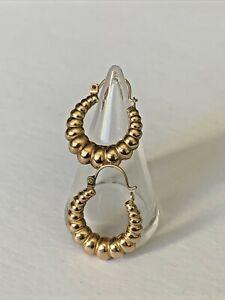 Pair Vintage 9ct Gold Ladies Creole style Hoop Earrings Jewellery Not Scrap