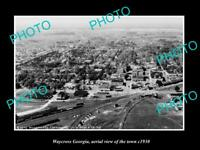 OLD POSTCARD SIZE PHOTO WAYCROSS GEORGIA, AERIAL VIEW OF THE TOWN c1930