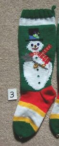 NANCY'S HAND KNIT PERSONALIZED CHRISTMAS STOCKINGS - SNOWMAN