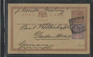 JAMAICA COVER  (P0404BB)  1890   QV 1/2D PSC+1D  KINGSTON TO GERMANY