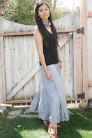 Dove in Sky Blue - Tiered Bamboo Skirt - Long Peasant Skirt - Hippie Skirt - Gyp