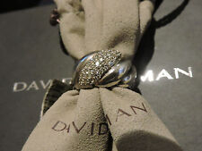 David Yurman Narrow Pave Sculpt Diamond Hampton Cable Sterling Silver Ring 7 NWT