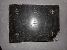 ANCIENNE PIERRE D'AUTEL/RELIQUE/MARBRE NOIR/27,5x20,5x3,5cm/5,3kg!/ MESSE/EGLISE