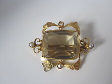 Lovely Edwardian Gold, Pearl & 12.5ct Citrine brooch by W.Bros