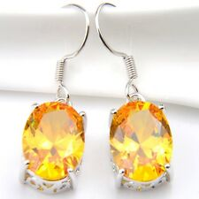 Sparkling Shiny Natural Oval Yellow Citrine Gemstone Silver Dangle Hook Earrings
