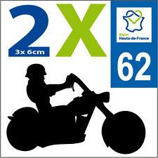PAS DE CALAIS HDF 2 stickers style immat MOTO Département 62 HAUTS DE FRANCE