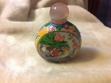 Antique Chinese Enamel on Glass Snuff Bottle 3 Character Signature