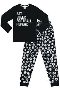 Boys Eat Sleep Football Repeat White Long Pyjamas Gamer Cotton  PJs